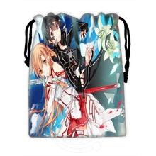 New Custom Sword Art Online Asuna Drawstring Bags Custom Storage Bags Storage Printed Receive Bag Compression Type Bags 18X22cm(China)