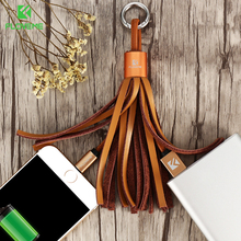 FLOVEME Genuine Leather Tassel Pocket Accessories Cable For iPhone 7 6 6s Plus 5 5s SE Micro USB Cabo For Samsung S7 Edge Cable
