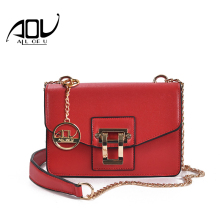 AOU New women classic bag brand Chains bags Women's Fashion Shoulder bag Red celebrity Crossbody Bag sac a main +China gift