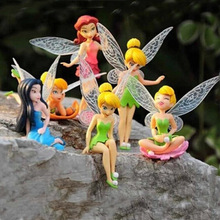 6pcs/set Tinkerbell dolls flying Fairy Adorable tinker bell action dolls flower pretty doll Minifigures toys(China)