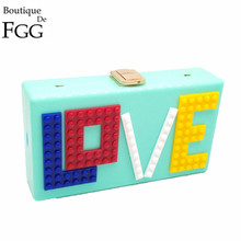 Women LOVE Letters Acrylic Clutch Bag Brand Design Wedding Party Prom Purse Ladies Hard Case Evening Clutches Shoulder Handbag
