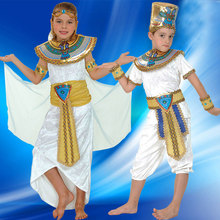 Boy Girl Ancient Egypt Egyptian Pharaoh Cleopatra Prince Princess Costume for Children Kids Halloween Cosplay Costumes Clothing(China)