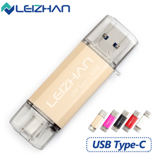 LEIZHAN USB 3.0 Type-C 3.1 Pendrive 32GB Metal USB Flash Drive 64GB Custom Pen Drive USB Stick for Phones Micro USB Flash Type C