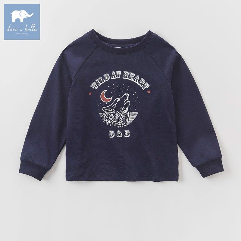 DK0808 dave bella autumn kids boys 100% cotton t-shirt children fashion high quality tops childs boutique tees<br>