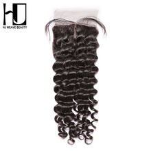 "[HJ WEAVE BEAUTY]Silk Base Closure Peruvian Deep Wave 100% Remy Human Hair 4""x4"" Middle Part With Baby Hair"