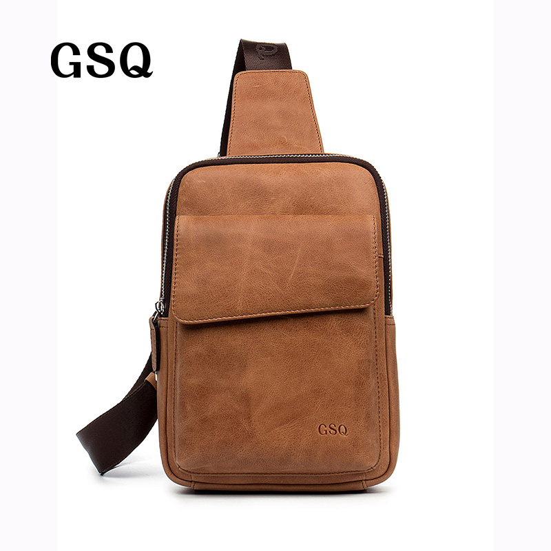 GSQ New Arrival Genuine Leather Men Crossbody Bag Brand Designer Leather Messenger Bags Men Shoulder Bag Chest Bags<br><br>Aliexpress