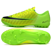Hot Indoor Shoes Soccer Football Cleats Kids Men Turf Shoes Leather Football Trianers Cheap Boys Football Shoes Green/Silver