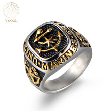 Biker Jewelry Stainless Steel Signet Ring for Men Titanium US Marine Anniversary Jewelry Punk Rock Antique Silver Rings VCOOL