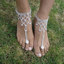 Girl Bridal Crystal Beach Barefoot Sandals Foot Toe Ankle Bracelet Jewelry(China)