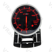 VSRacing 2.5 Inch 60mm Defi BF Gauge Car Water Temp Meter Radiator Temperature, Red + White Light Color