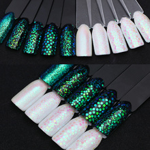 Mermaid Green Nail Glitter Sequins Multi-size Pixel Effect Nail Glitters Iridescent Sparkle UV Gel Polish Nail Art Decoration
