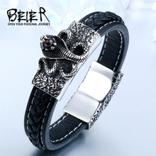 BEIER Wholesale Dropshipping Man's High Quality Genes Leather Cool Snake Bracelet Bangle For Man BC-L011
