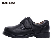 KALUPAO Children School U Shoes Boys Handsome Dress Shoes Genuine Classic Black Leather Shoes Casual Stylish For Kids Boys(China)