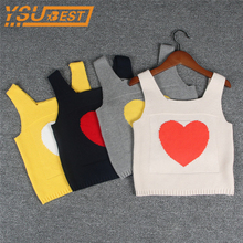 Love Condole Belt Vest Baby Boys Girls Sweater Love Knitting Vest 1-5yrs Children Clothes Casual Kids Boys Knitting Vest Coat(China)
