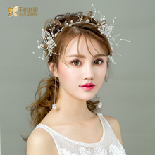 Luxurious white pearl hairband crown earring crystal bride headpiece party gifts wedding accessories hairwear crown haolan(China)