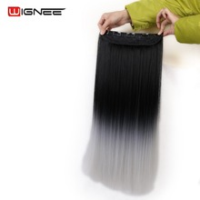 Wignee 5 Clips In Straight Hair Extension For Black Women 2 Tone  Ombre Color Synthetic Natural Black To Light Grey Hair Pieces