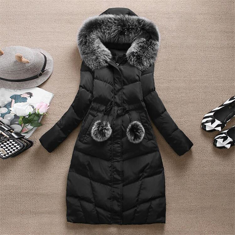 Korean version winter new arrival womens slim waist thickening woman parka large fur collar long down cotton-padded jacket coatÎäåæäà è àêñåññóàðû<br><br>