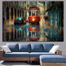 HD Print Retro Tram Rain City Street Oil Painting on Canvas Pop Art Modern Wall Picture for Living Room Poster Sofa Cudros Decor(China)