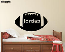 Mad World-Personalised Boys Name With Football Wall Art Stickers Wall Decal Home DIY Decoration Removable Decor Wall Stickers