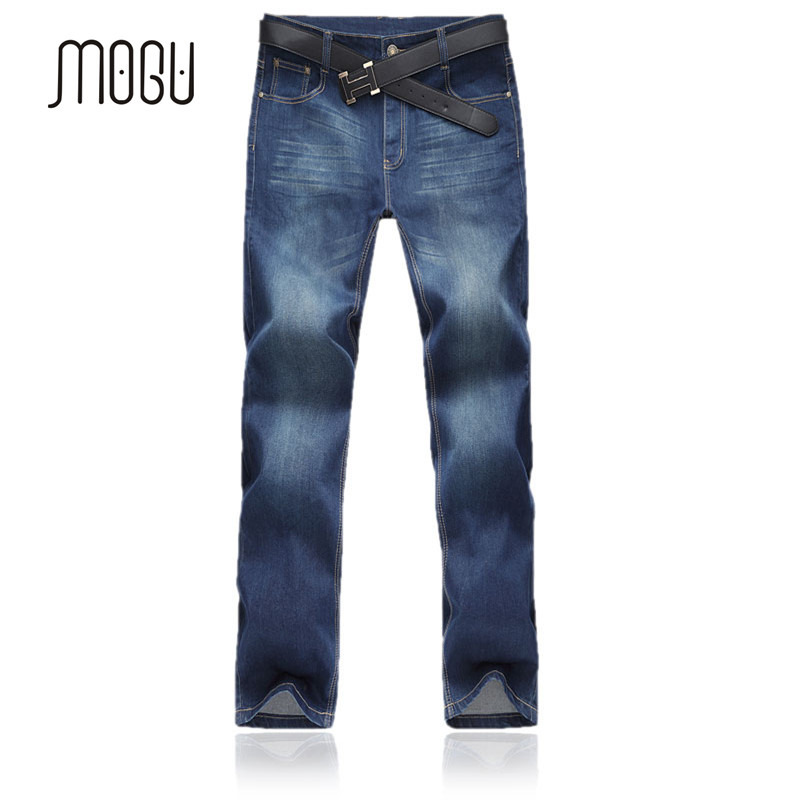 MOGU New Arrival Mens Autumn Jeans Plus Size 46 48 Fashion Business Classic Long Pants For Man Blue Solid Mens Jeans Mid WaistÎäåæäà è àêñåññóàðû<br><br>