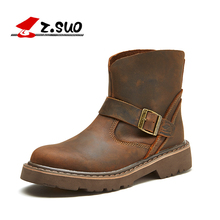 Z.Suo 2018 fashion winter Retro boots men Genuine Leather mens boots high quality Slip On Buckle Srap casual men's boots Q1308B(China)