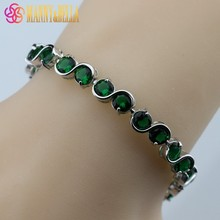 925 Sterling Silver Small Round Green Created Emerald Bracelet Health Fashion  Jewelry For Women Free Jewelry Box SL123