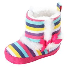 Winter Thick Baby Snow Boots Rainbow Stripes Warm Baby Toddler Footwear Shoes Children's Boots