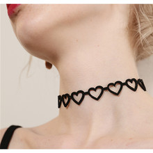 x158 New Black Leather Love Heart Choker Necklaces 2017 Fashion Gothic Style Jewelry For Women Girls 3 Types Heart Necklaces