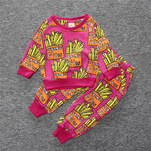 New style 2017 Autumn cotton sports suit for boys and girlsof two items a long T-shirt and long pants baby clothing set(China)