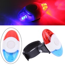 Super Mini Waterproof Police Light Red Blue 4 Flash Mode 4 LED Bicycle Cycling Rear Light Safety Warning Tail Bike Light Lamp(China)