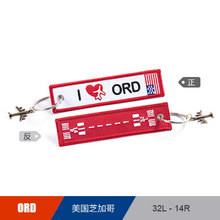 US CHICAGO ORD Airport  Luggage Tag Embroider Metal Plane  Bag Tag Best Gift for Flight Crew Pilot Aviation Lover