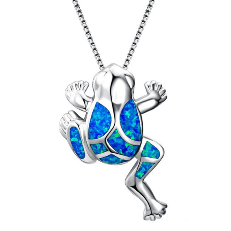 Fashion Silver Filled Blue Imitati Opal Sea Turtle Pendant Necklace for Women Female Animal Wedding Ocean Beach Jewelry Gift 1
