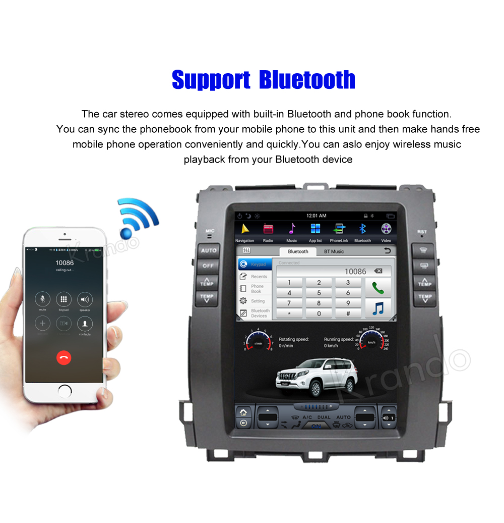 Krando Vertical screen android car radio multimedia for Toyota prado 2002-2009 Big screen navigation with gps system (4)