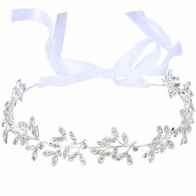 Bella Fashion Elegant Floral Leaf Ribbon Bridal Hair Tiara Austrian Crystal Wedding Headband Hair Accessory For Bridesmaid Women(China)