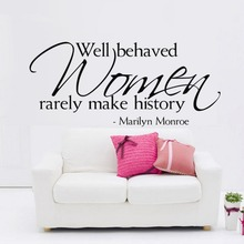& Women make history Marilyn Monroe Quotes Wall Stickers Kids Room Bedroom Home Decor 3D Vinyl Removeable Posters Wall Decal