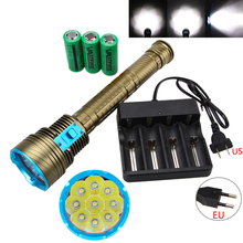 Super Bright 15000LM 9X XM-L T6 LED Diving Flashlight Lantern Torch Waterproof 100m Scuba With 3X18650 Battery Pack+Charger(China)