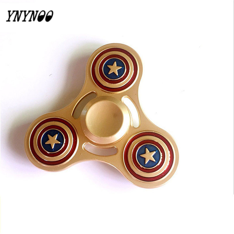 YNYNOO Fidget Hand Spinner Metal Cube Stress Spinner Hand Gold Ironman Shield Autism & ADHD Anxiety Stress top spinner toy