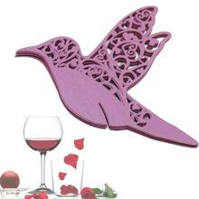 50pcs DIY Place Card Flying Birds Cups Glass Wine Wedding Name Laser Cut Pearlscent Paper Cards Birthday Party Decor purple