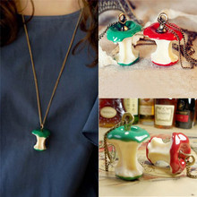 1 PC Retro Cute Apple Core Pendant Necklace Fairy Tale Long Chain Necklace For Women Jewelry Girls Creative Gift(China)