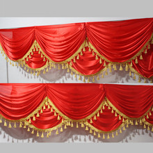 Red Ice Silk Swag with Tassel for Wedding Backdrop Decoration Event Party Curtain Drape 6m length can be customized
