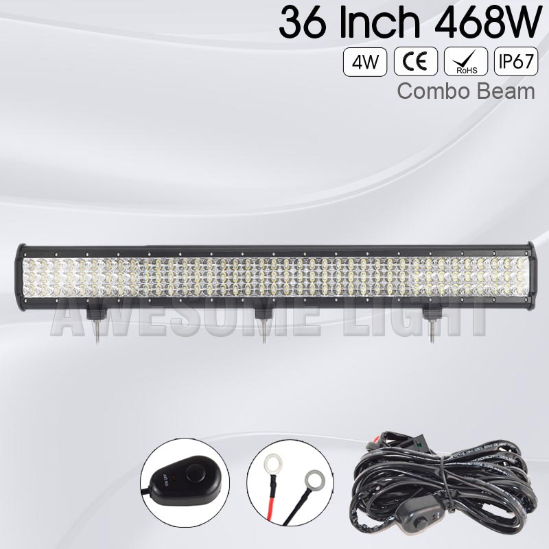 36inch 468w 6D Tri-Row 4X4 car road LED Light Bar IP67 waterproof Combo Beam offroad LED driving light bar truck auto