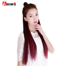 5 Clip In Long Straight Hair Extensions High Temperature Fiber Fashion Synthetic Hair Extensions for Women AOSIWIG(China)