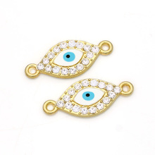 JAKONGO Gold Color Evil Blue Eye Crystal Connector fit Jewelry Making Bracelet Jewelry Accessories DIY Craft 26x11mm(China)