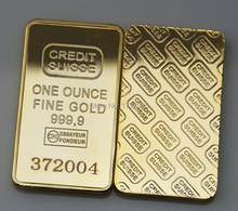 5pcs/lot High Quality Gold plated bullion bar Switzerland Credit Suisse no copy gold bullion bar with laser serial number,