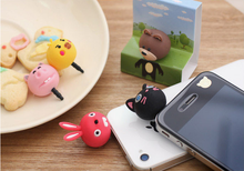 5pcs/lot Cartoon Animal pig/chick/rabbit/cat/bear PVC Mobile Phone Anti Dust Plug ear cap Universal 3.5mm Earphone Jack Plug
