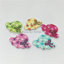 300pcs 23x17mm Pretty Straw Hat Cap Wooden Buttons 2 Holes Baby Fancy Sewing Button Crafts Clothing Accessory(China)