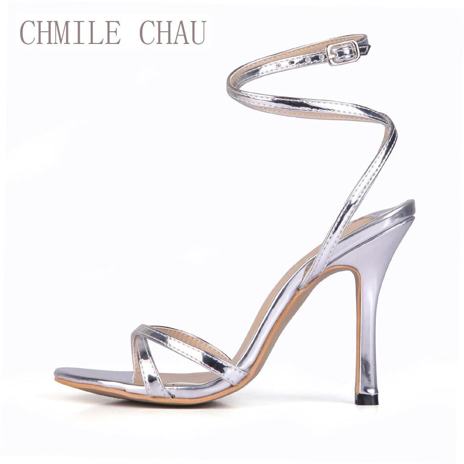 CHMILE CHAU Sexy Bridal Wedding Party Women Sandals Stiletto High Heel Ankle Strap Ladies Shoes Sandales Talon Femme 158-a2<br>