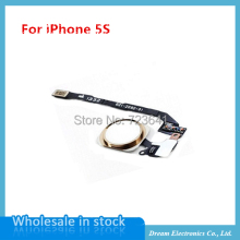 10pcs/lot NEW Home Button Flex Ribbon Cable Assembly For iPhone 5S black/white/gold Replacement Repair part Free shipping