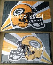 Green Bay Packers Helmet Lighting Flag 3ft x 5ft Polyester NFL Green Bay Packers Banner Size No.4 144*96cm QingQing Flag(China)