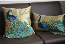 luxury Handmade sequins peacock cushion Faux Silk Decorative Embroidery office Home Decor Sofa back  waist pillow Cushion